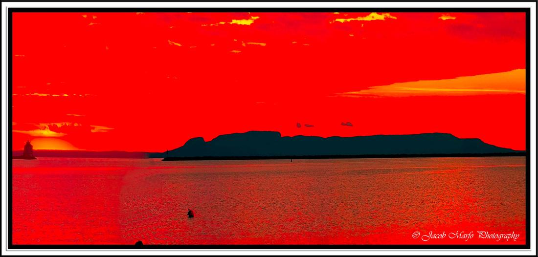 Sunrise in Thunder Bay over the Sleeping Giant